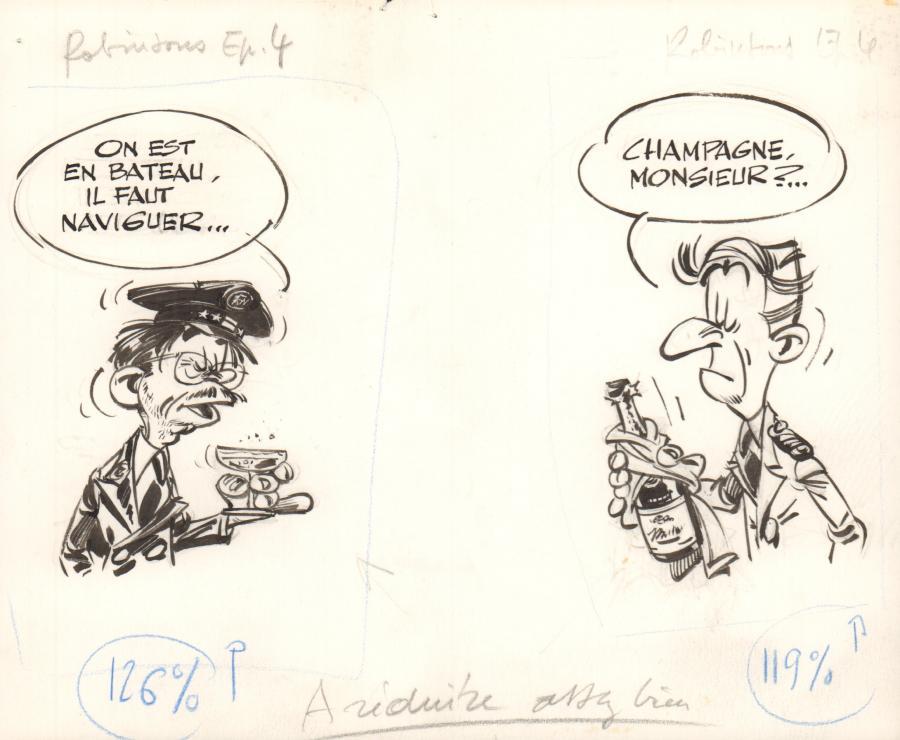 Planche originale de bande dessinée, galerie Napoléon : LES ROBINSONS DU RAIL - Illustration originale Les Robinsons du Rail par FRANQUIN -