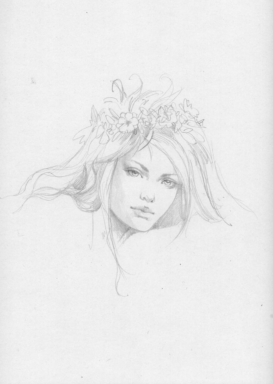 Illustration originale de Sandrine GESTIN - Portrait féminin