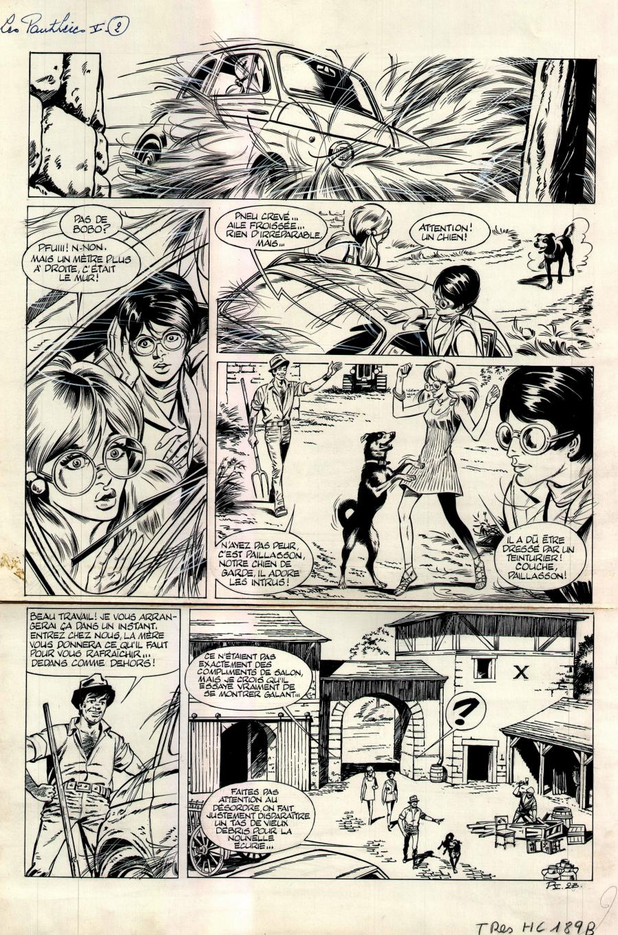Edouard AIDANS 's original comic page. LES PANTHERES comic series
