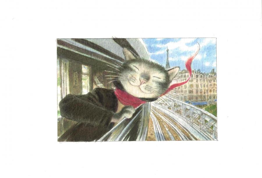 Le chat peintre - en métro - Illustration originale par Andreï ARINOUCHKINE