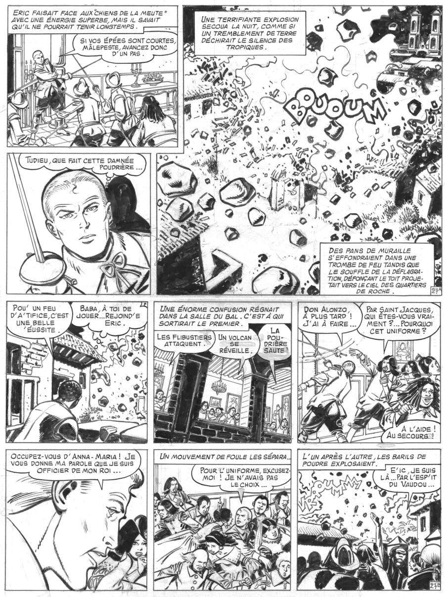 Original comic  page 27 Issue 30 Barbe Rouge L'or et la gloire by Christian GATY