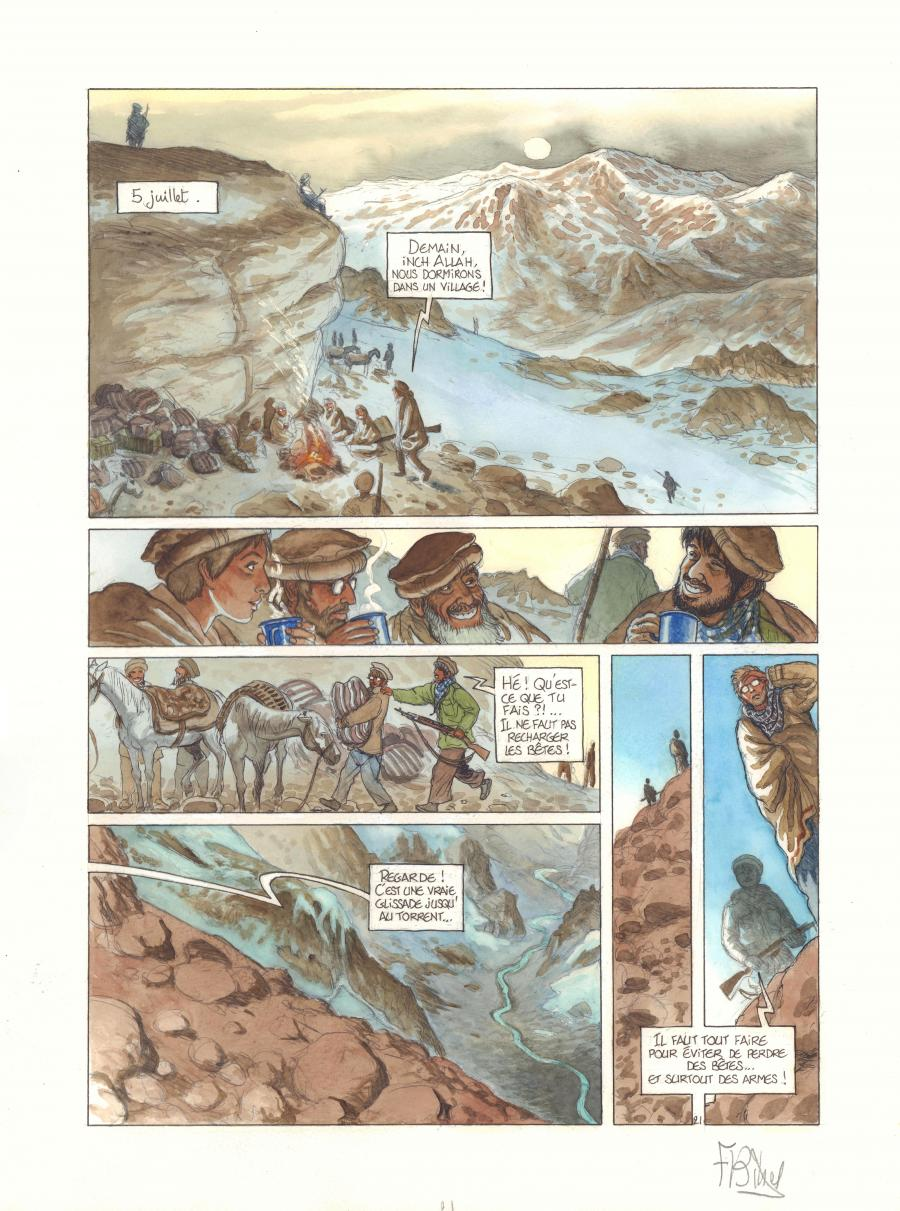 Original comic page 21 from The AFGHAN by Frederic BIHEL