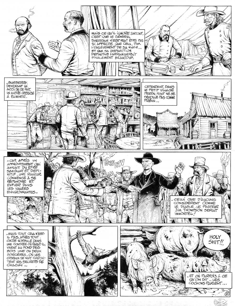 BLUEBERRY the youth original comic page 2 by BLANC DUMONT