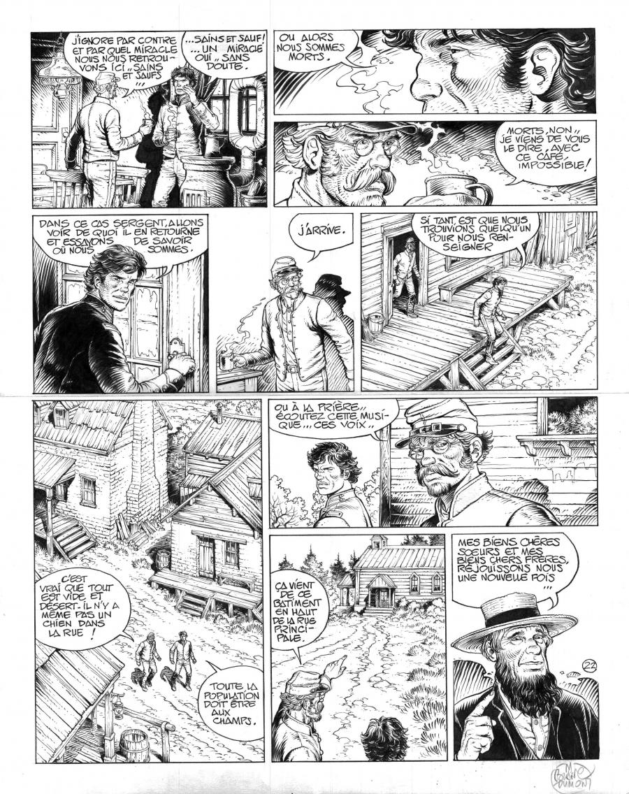 Original comic art 22 of BlueBerry (the youth of) issue 21: le convoi des bannis