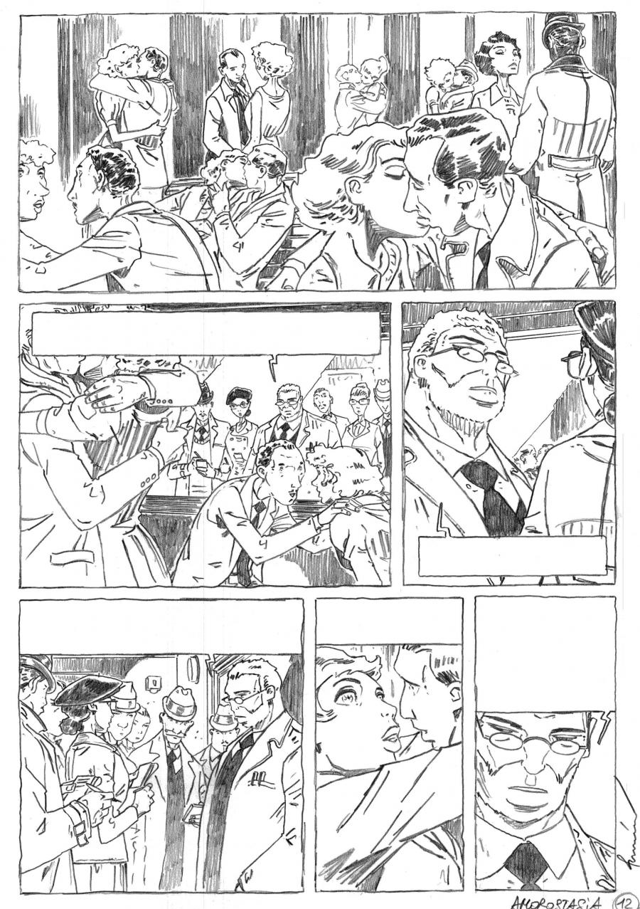 Penciled original comic art 12 for AMOROSTASIA by Cyril BONIN