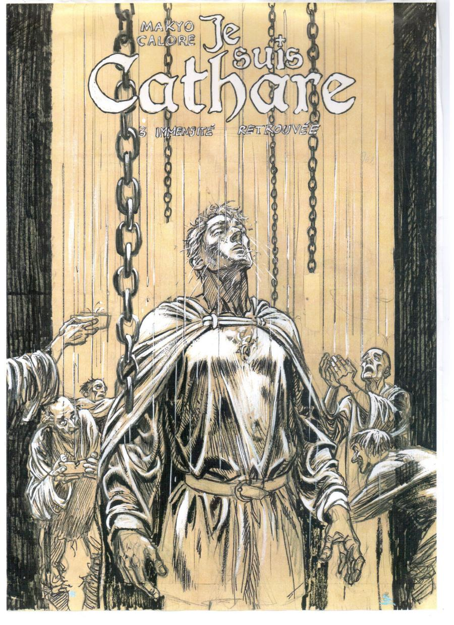 Illustration originale etude de couverture de Je suis Cathare tome 3 par CALORE