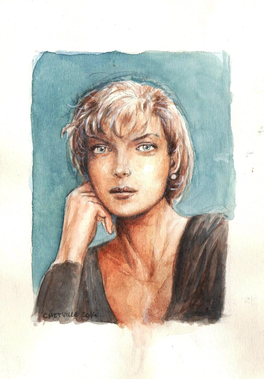 Illustration originale. Portrait de SIENNA par Denis CHETVILLE