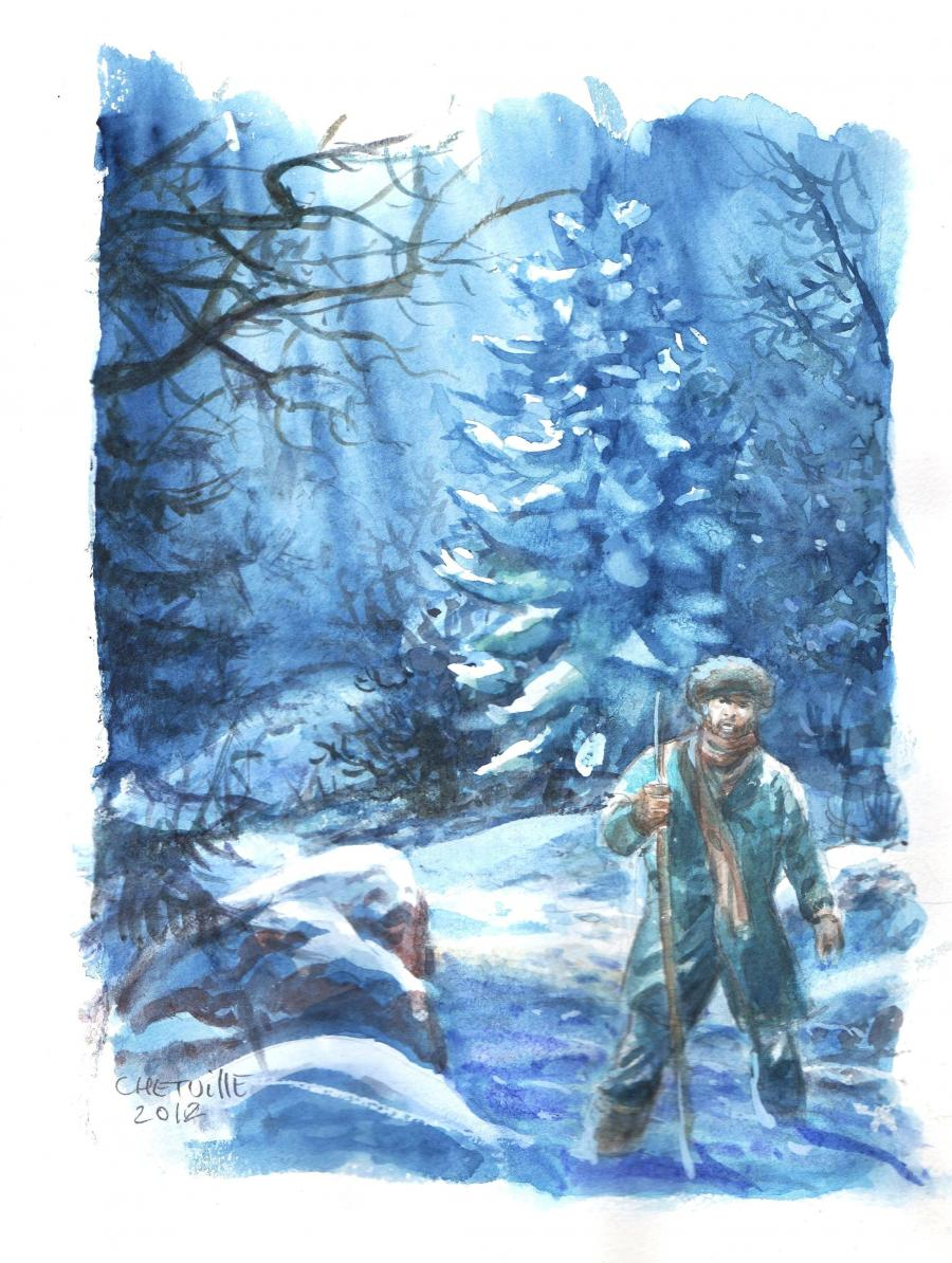 Original comic art by Denis CHETVILLE. A man in the snow