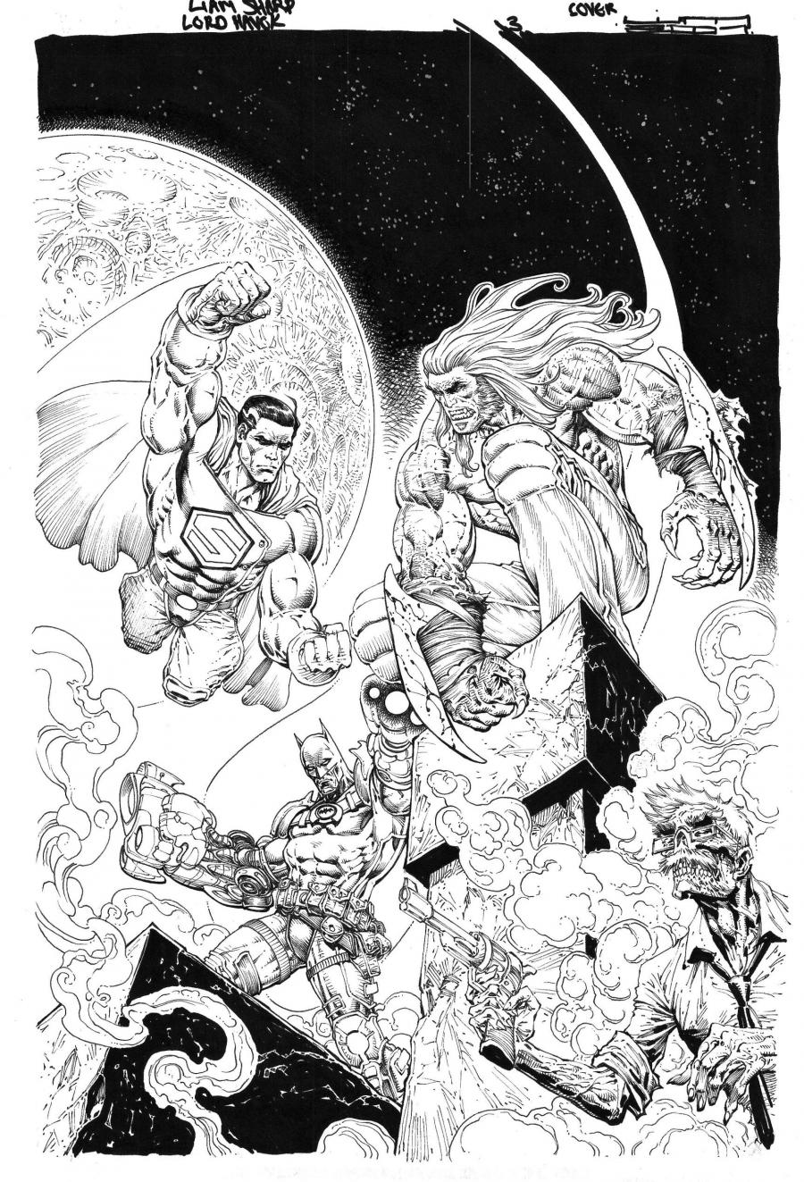 Planche originale de bande dessinée, galerie Napoléon  : BATMAN - Couverture originale BATMAN et SUPERMAN issue de Lord Havok and the Extremists - Tome I, Part Three : The Beast Within par Liam Sharp -