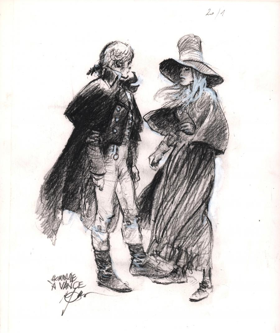 Original comic illustration in hommage to Vance by René FOLLET