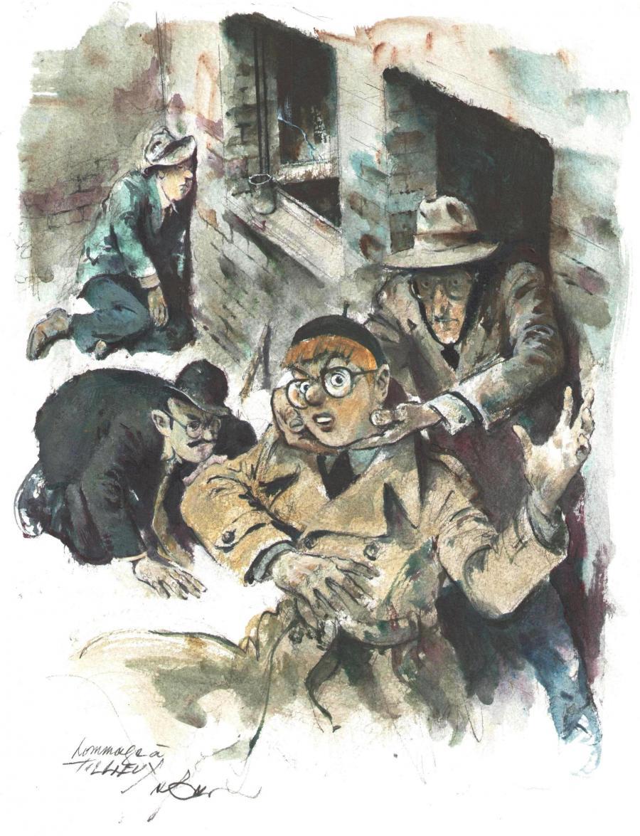 Planche originale de bande dessinée, galerie Napoléon : Divers - Illustration originale hommage à Tillieux - parodie de couverture de Felix par René Follet -
