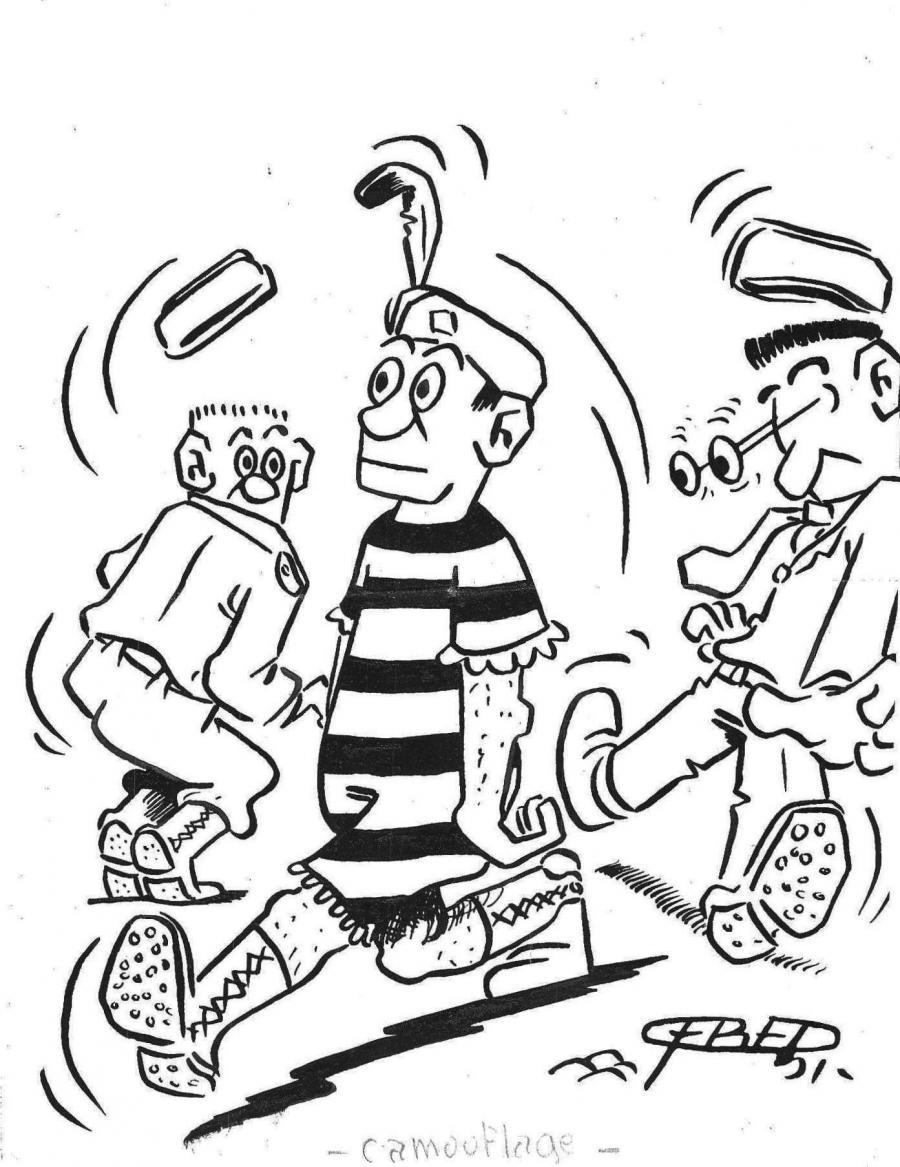 50's original FRED's illustration published in Quartier Latin newspaper