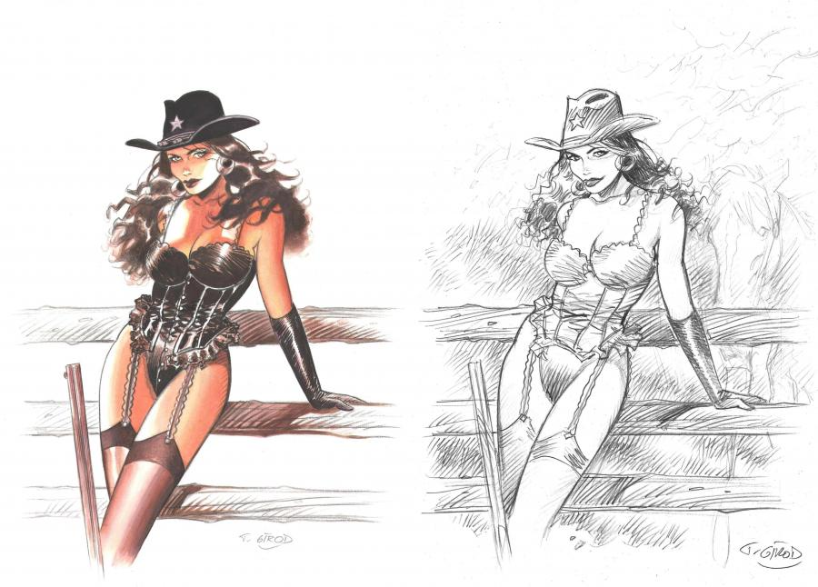 Illustration originale - Pin-up black girl - publiée dans Western Corset par Thierry Girod