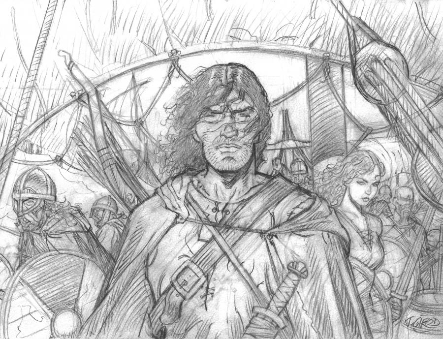 Original penciled illustration Tribute to Thorgal and Rosinski by GIROD