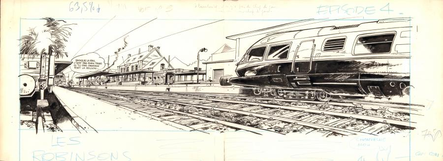 JIDEHEM's original illustration for the Robinson du Rail Book