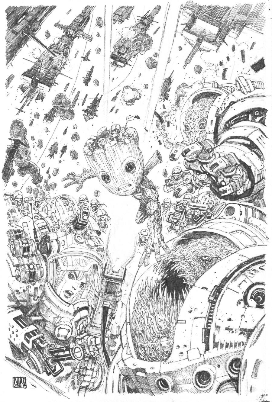 Original Comics illustration, Napoleon Gallery : MARVEL - Original cover THE GUARDIANS OF THE GALAXY : I am Groot by Niko HENRICHON - cover