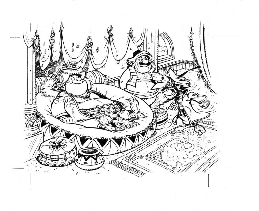 Original illustration from IZNOGOUD performed for a Nathan's puzzle by Jean TABARY