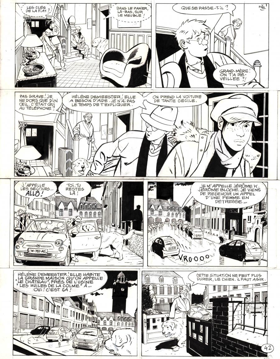 Original comic page 42 from Jérôme k. Jérôme Bloche issue 26 - Le couteau dans l'arbre by Alain DODIER