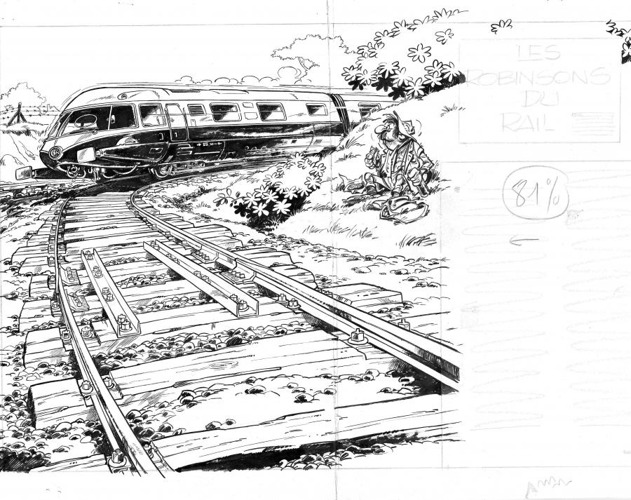 Original illustration from Les Robinsons du Rail by FRANQUIN  - Page 16