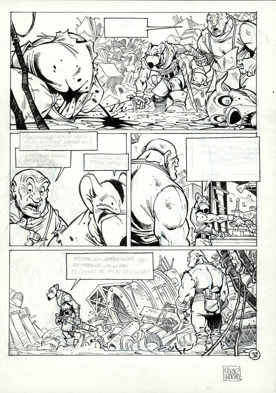Original comic page 32 from Solo, issue 1 Les survivants du chaos by Oscar MARTIN