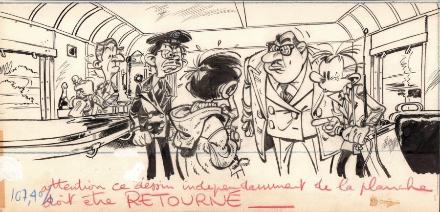 Planche originale de bande dessinée, galerie Napoléon : LES ROBINSONS DU RAIL - Illustration originale d'André FRANQUIN pour les Robinsons du Rail sur un texte d'Yvan DELPORTE -