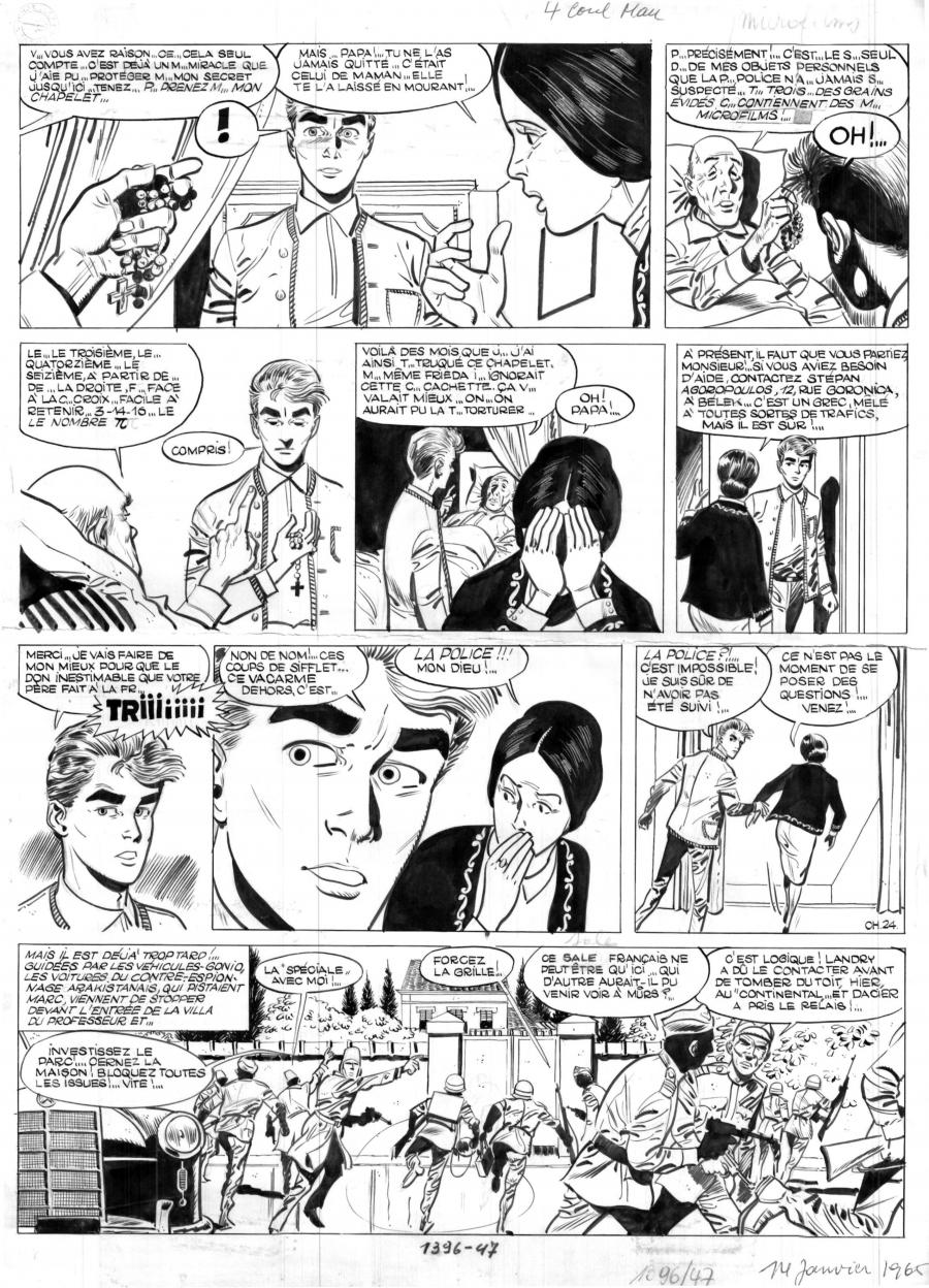 Original comic page 24 Issue 11 of MARC DACIER Chasse à l'Homme by Eddy PAAPE