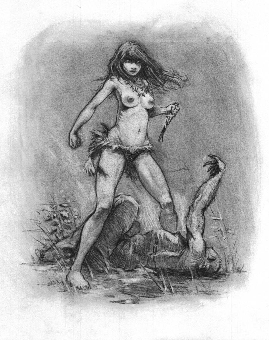 Illustration originale Femme sauvage par Regis Moulun