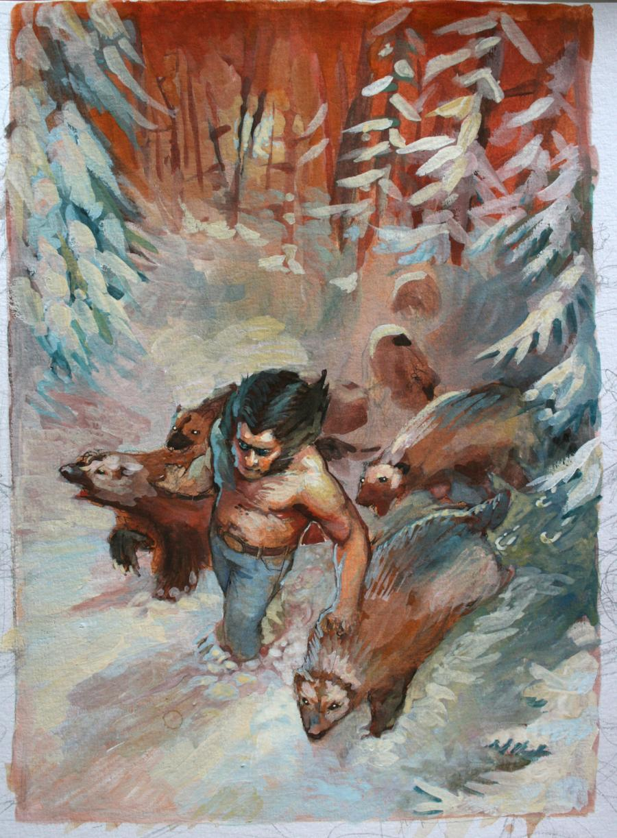 Wolverine - Illustration originale gouache par Régis MOULUN