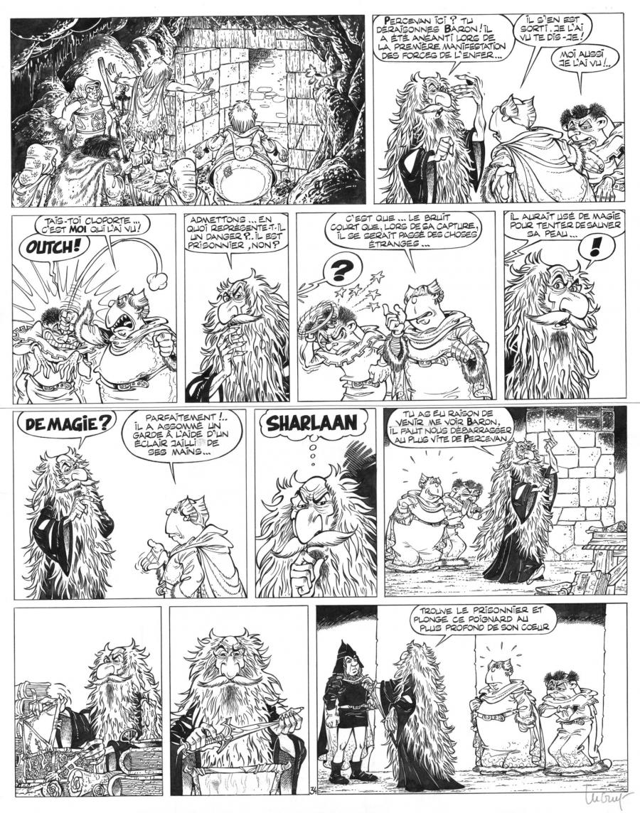 Original comic page 34 Issue 7  Percevan Les seigneurs de l'enfer  by Philippe LUGUY