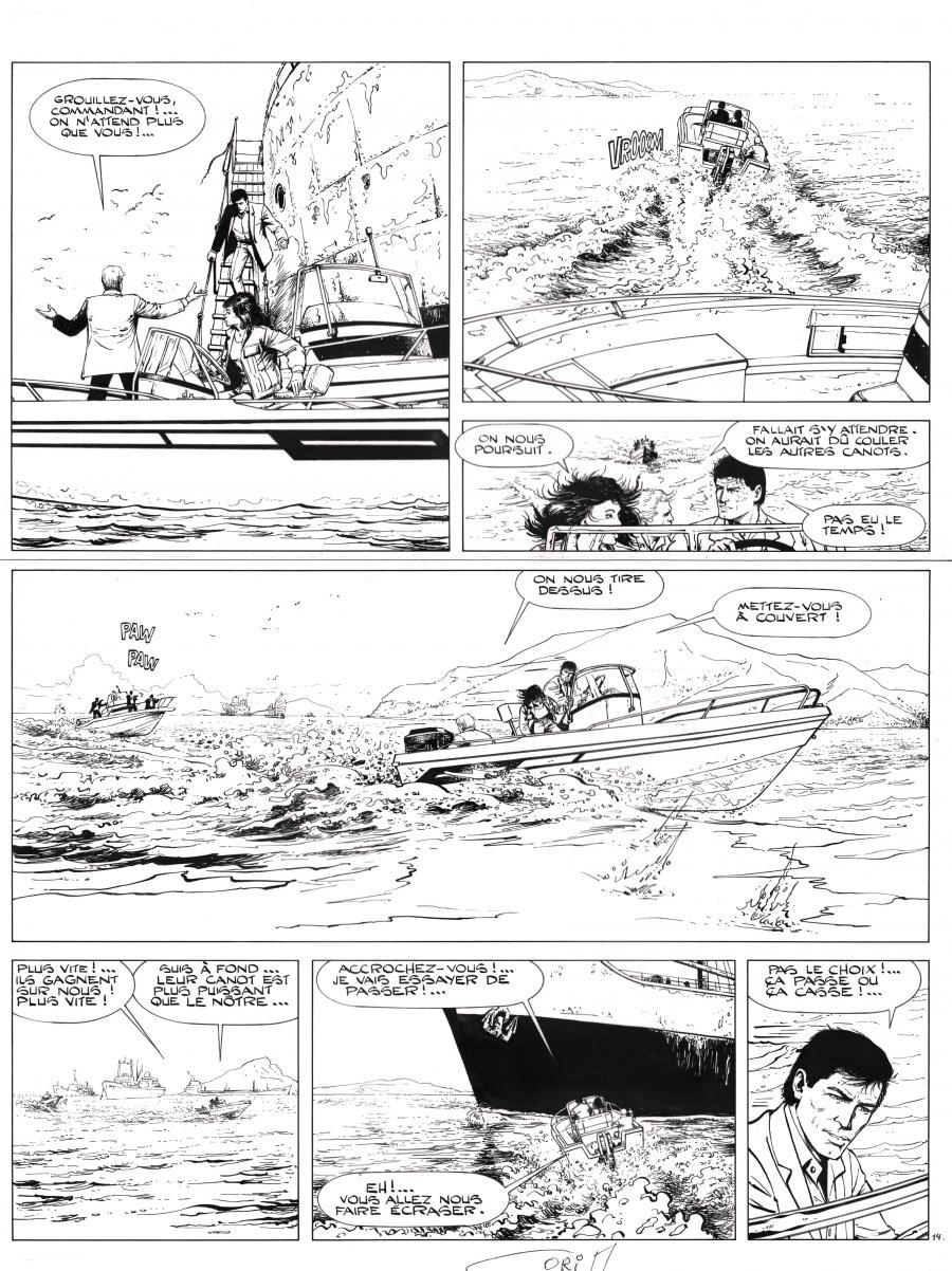 Original comic page 14 from BOB MORANE issue 48 Un parfum d'Ylang Ylang by Felicisimo CORIA