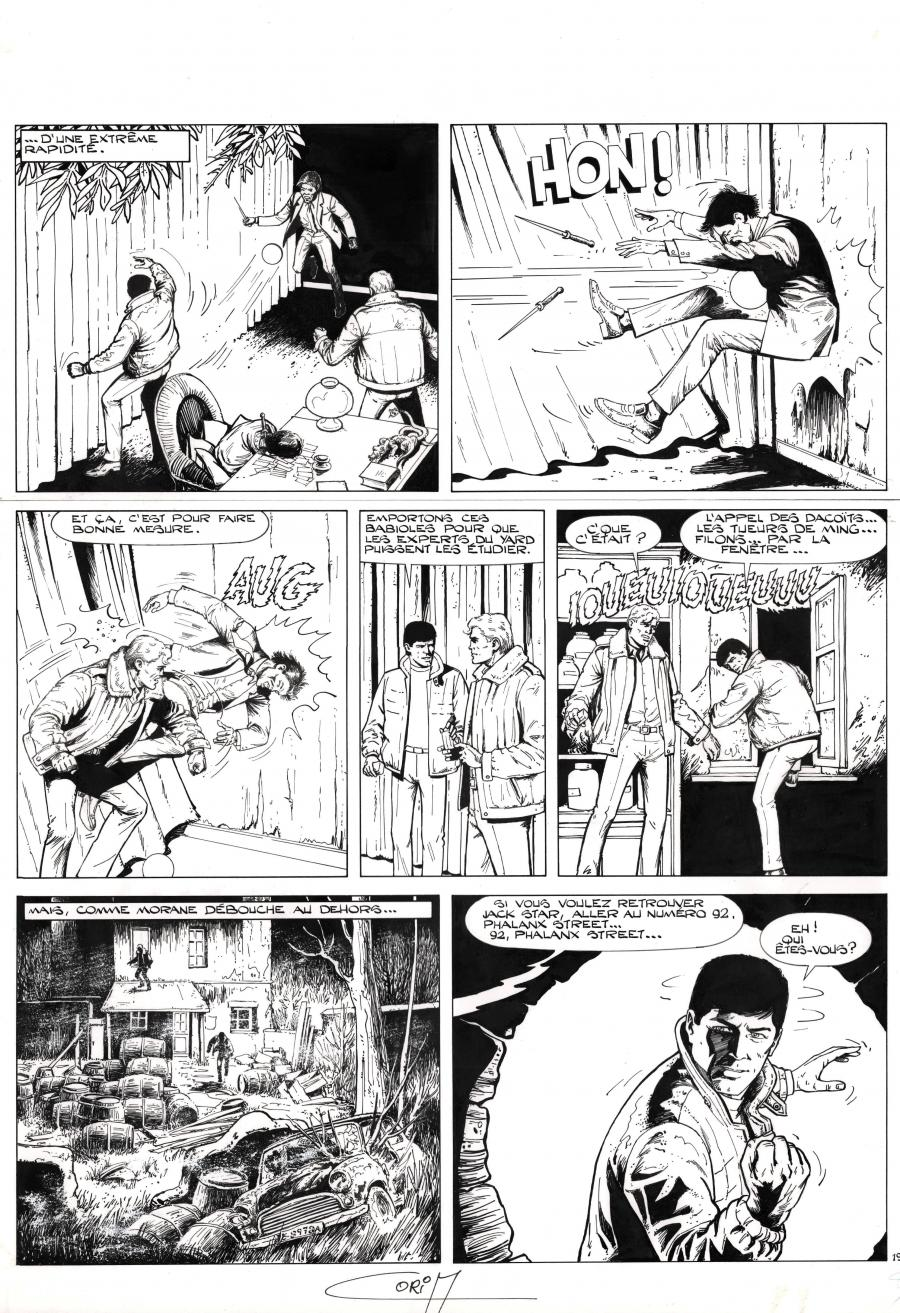 Original comic page 19 from BOB MORANE issue 39 Les otages de l'ombre jauneby Felicisimo CORIA