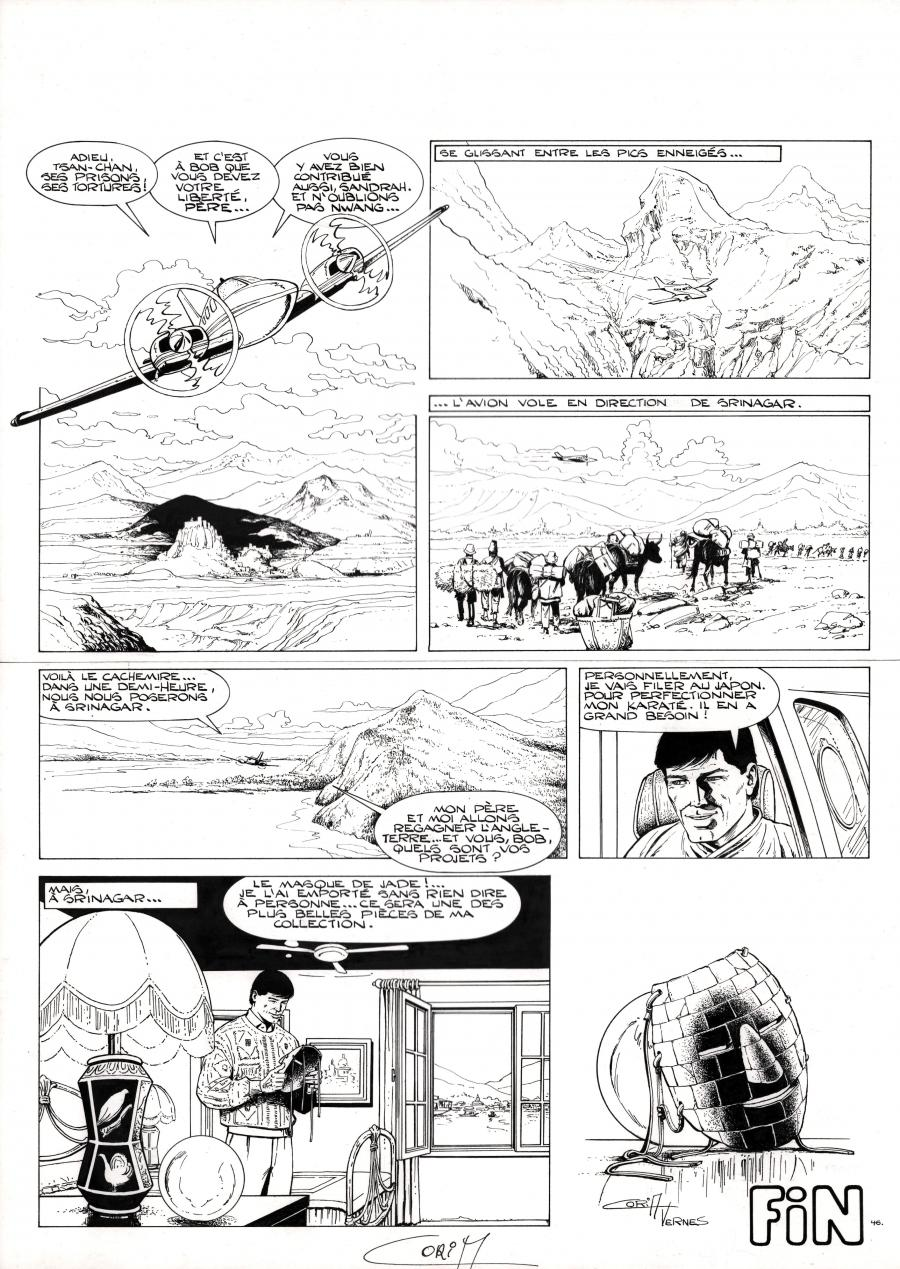 Original comic page 46 from BOB MORANE issue 43 le masque de jade by Felicisimo CORIA