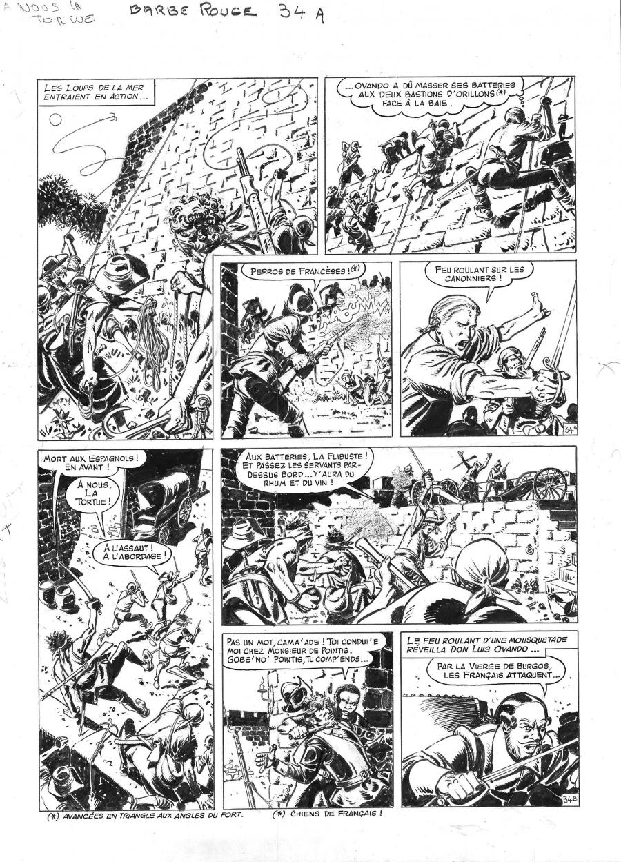 Comics illustration, Napoleon Gallery : BARBE ROUGE - Original comic page 34 from BARBE ROUGE - Issue 29. A nous la Tortue - 34