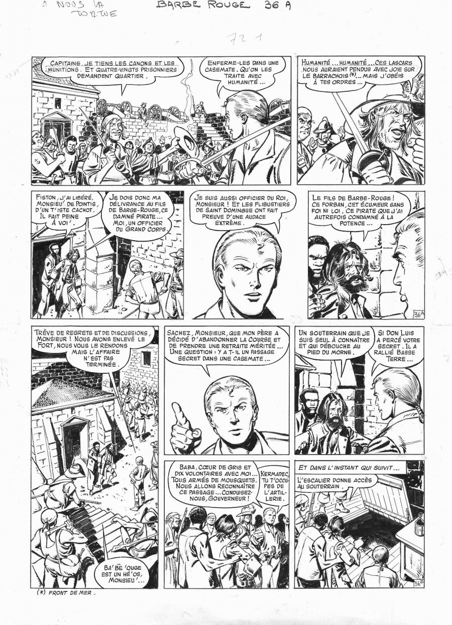 Original comic page 36 from BARBE ROUGE - Issue 29. A nous la Tortue