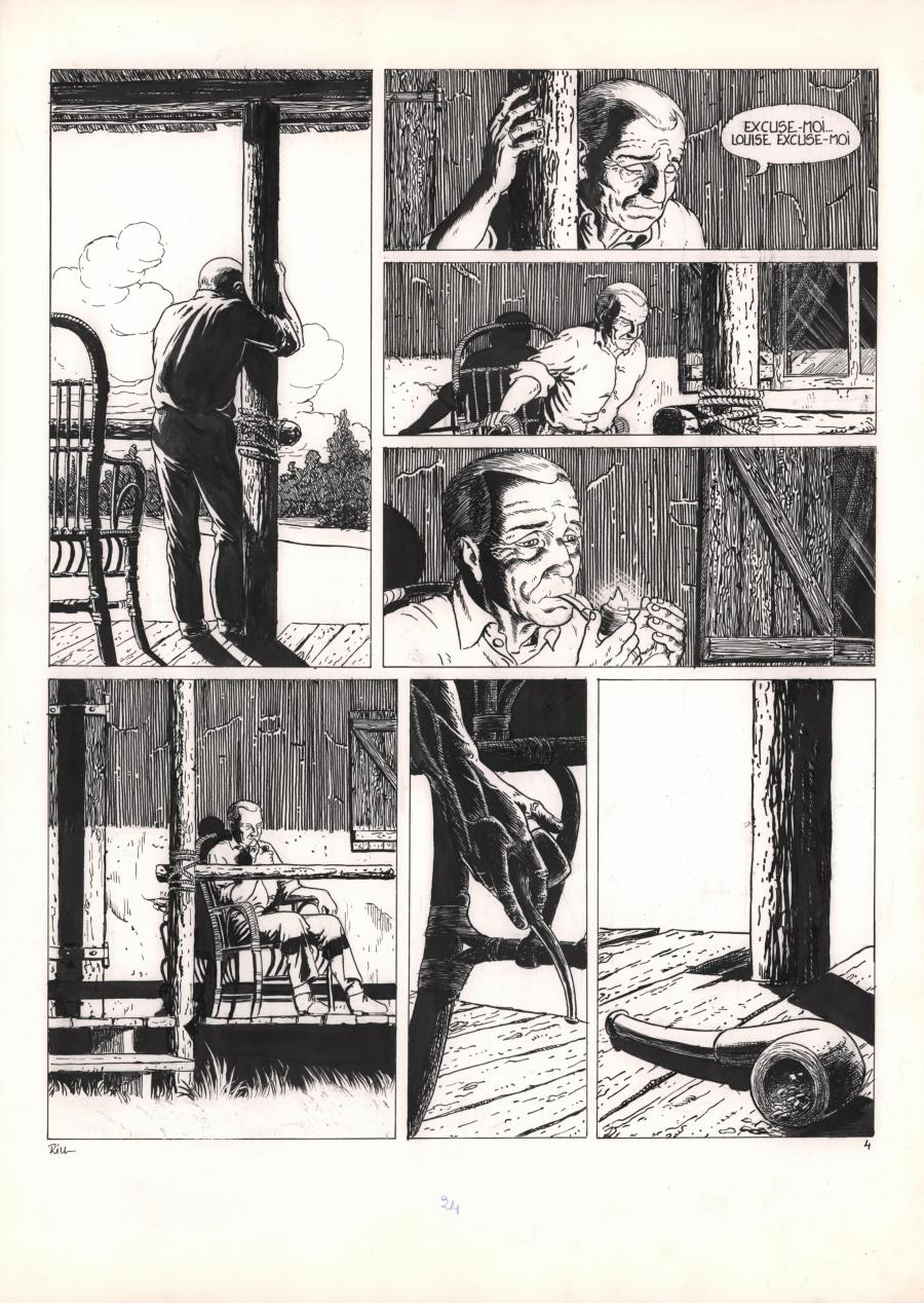 Original comic page 4 of Solitudes issue 1 by Michel RIU