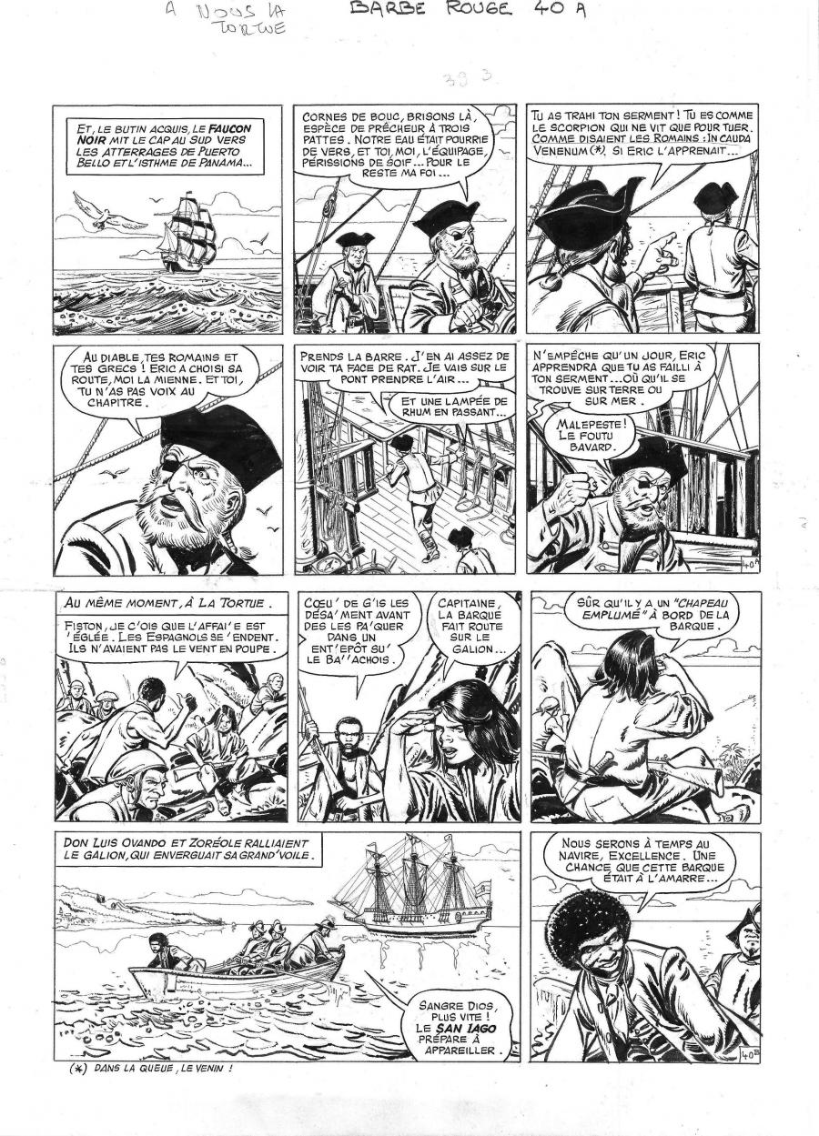 Original comic page 40 from BARBE ROUGE - Issue 29. A nous la Tortue