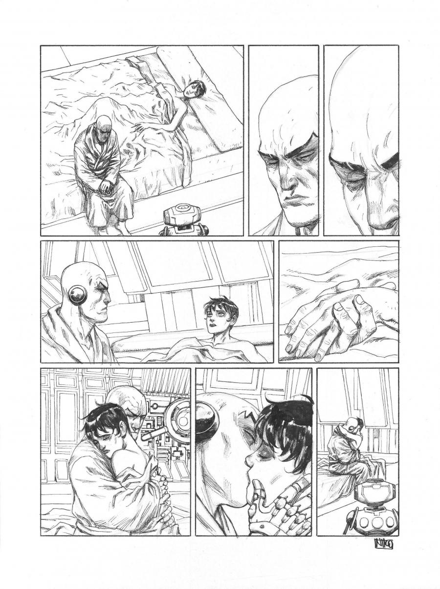 Original Comics illustration, Napoleon Gallery : META-BARON - Original page 8 META-BARON issue 4 - Simak le transhumain by Niko HENRICHON - 8