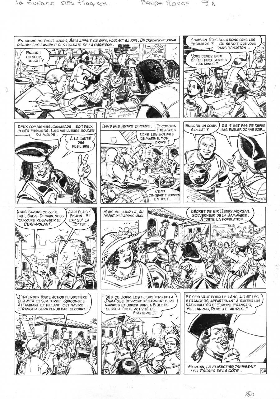 Original comic page 9 from BARBE ROUGE - Issue 31. La guerre des pirates