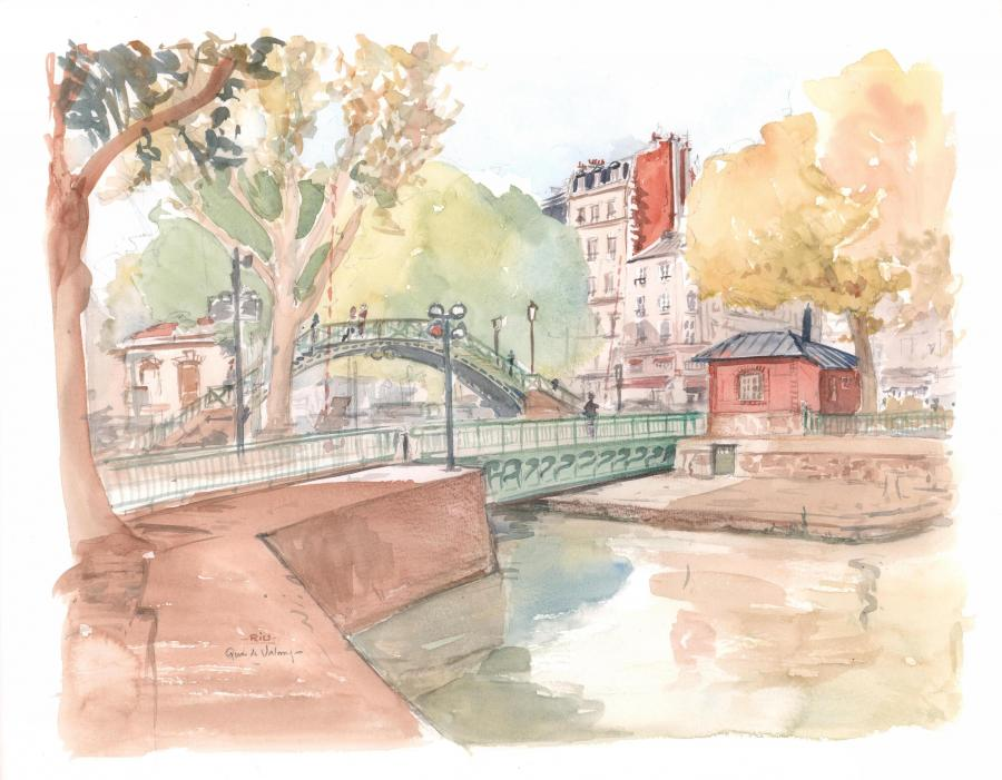 Illustration originale Quai de Valmy par Michel RIU