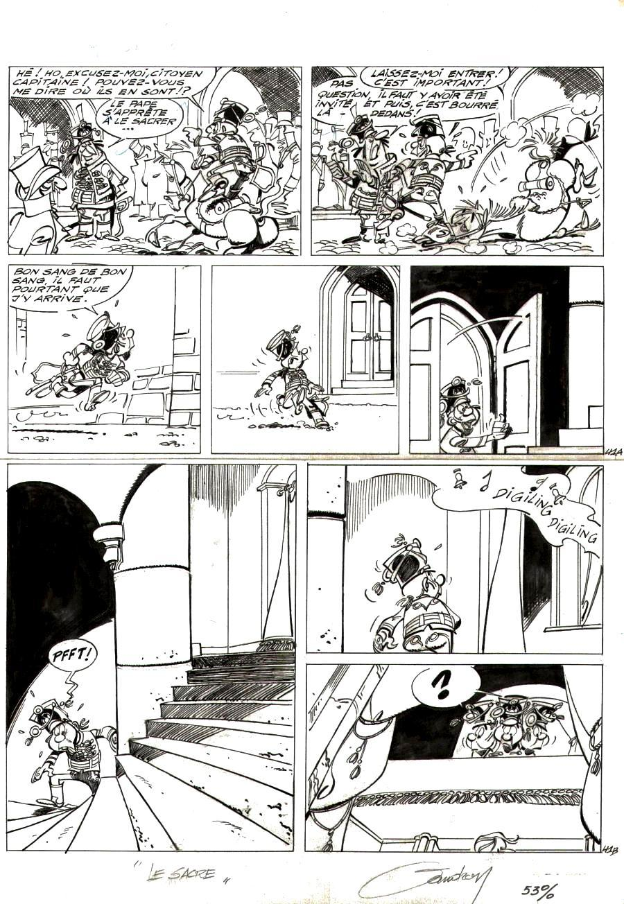 Original  comic page 41 Issue 2 from Godaille et Godasse  Sacré sacre by Jacques SANDRON