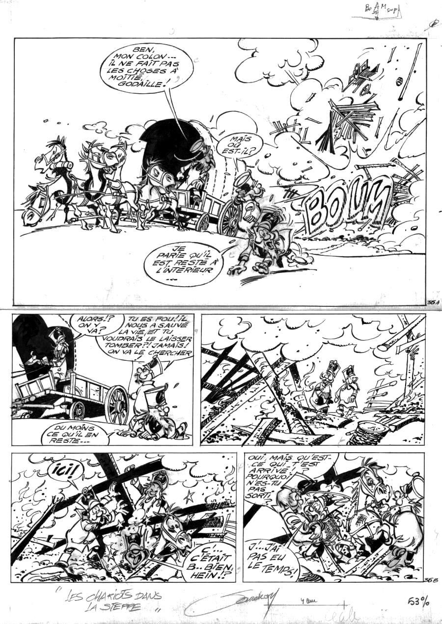 Comics illustration, Napoleon Gallery : GODAILLE AND GODASSE - Original  comic page 36 Issue 5 from Godaille et Godasse  Des chariots dans la steppe by Jacques SANDRON  - 36