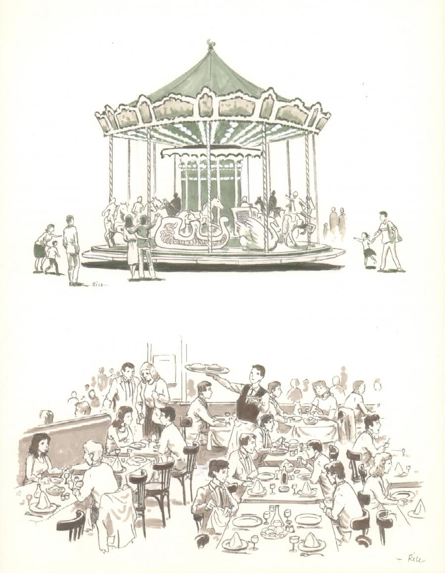 Illustration originale - Manège et Bistrot - par Michel RIU
