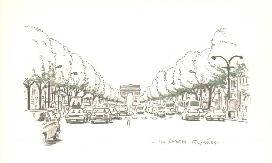 Illustration originale - Champs Elysées - par Michel RIU