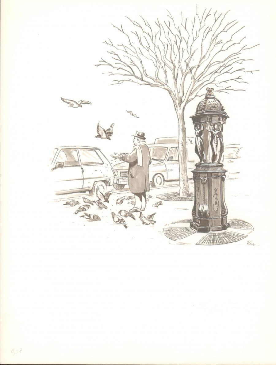 Illustration originale - Fontaine et Pigeons - par Michel RIU