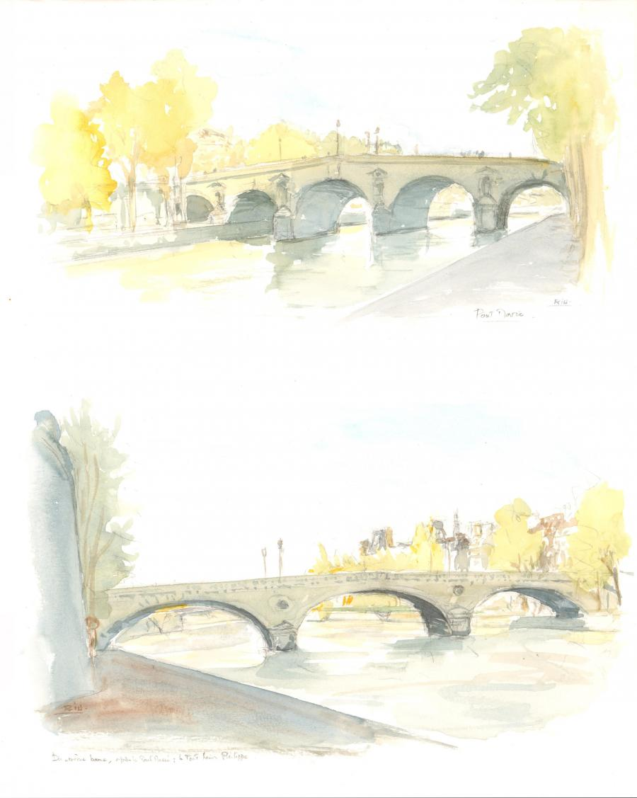 Original watercolor illustration - Pont Marie - by Michel RIU
