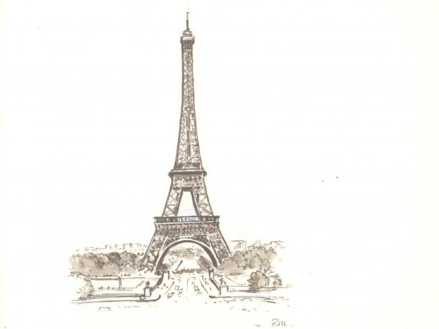 Illustration originale - La Tour Eiffel - par Michel RIU