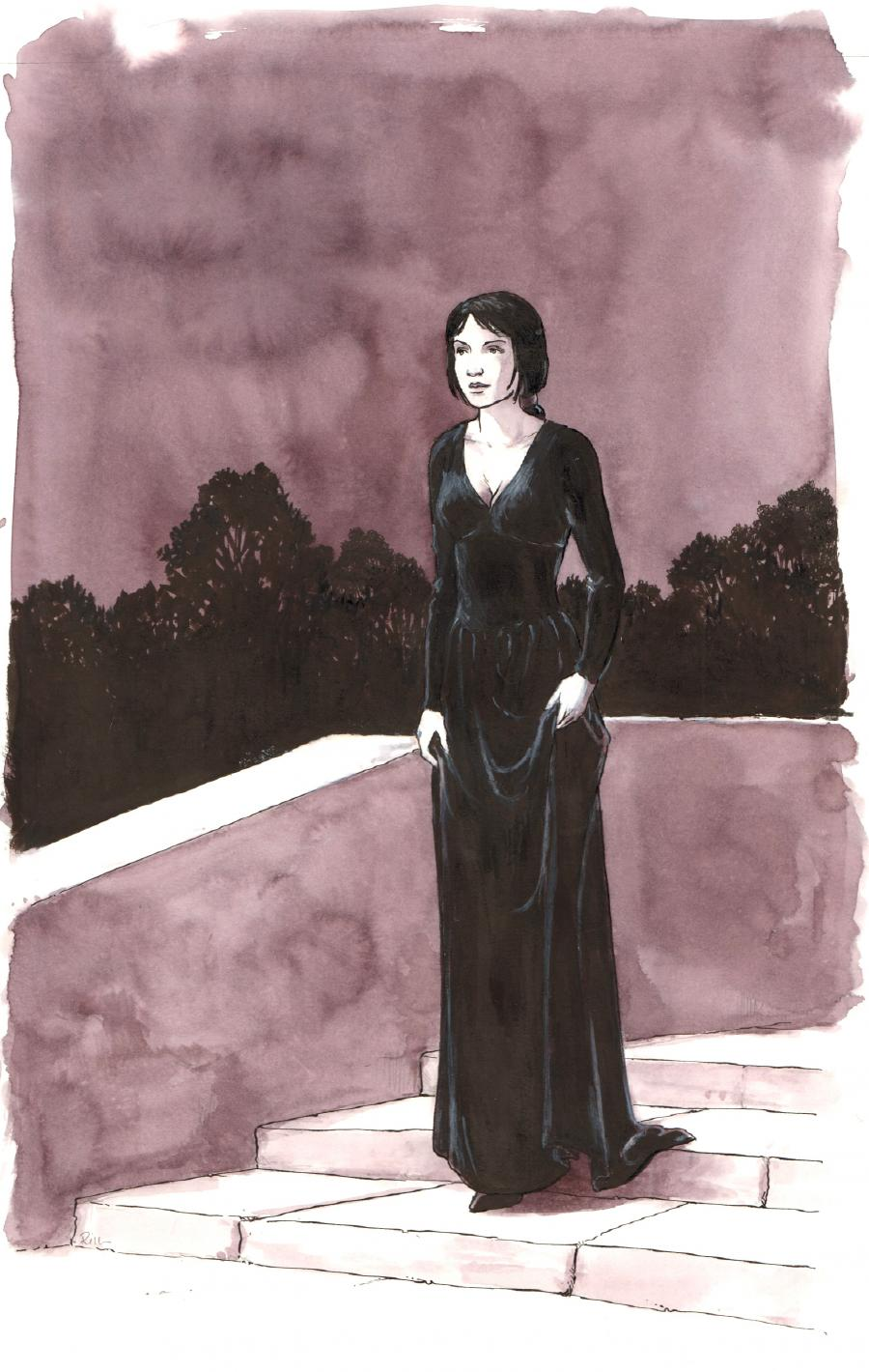 Illustration originale - Femme en noir - par Michel RIU