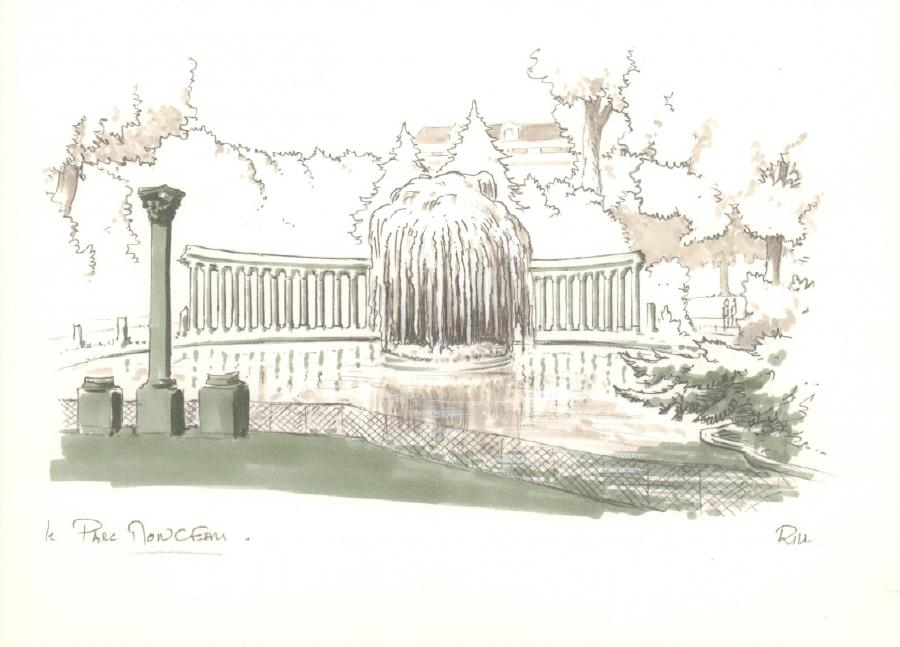 Illustration originale - Parc Monceau - par Michel RIU