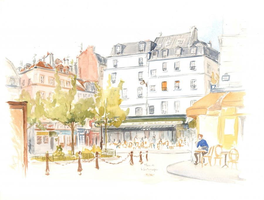 Original watercolor illustration - Place de la Contrescarpe - by Michel RIU