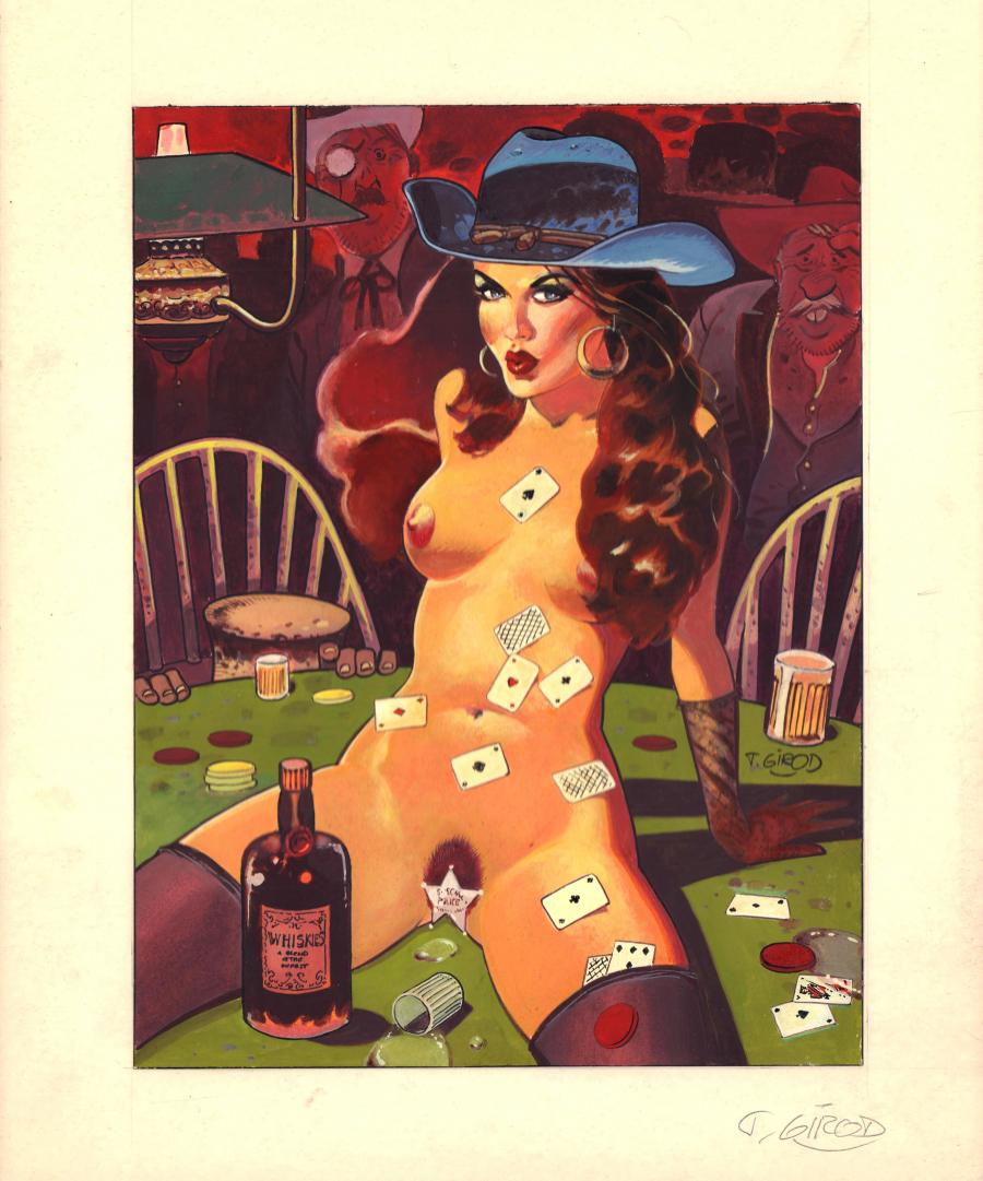 Illustration originale Saloon Sheriff Girl par GIROD